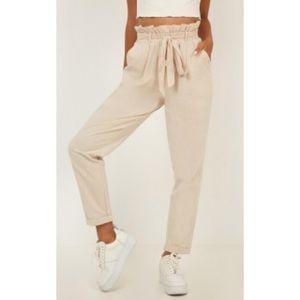 Showpo It Isn't True Pants in Natural Linen
